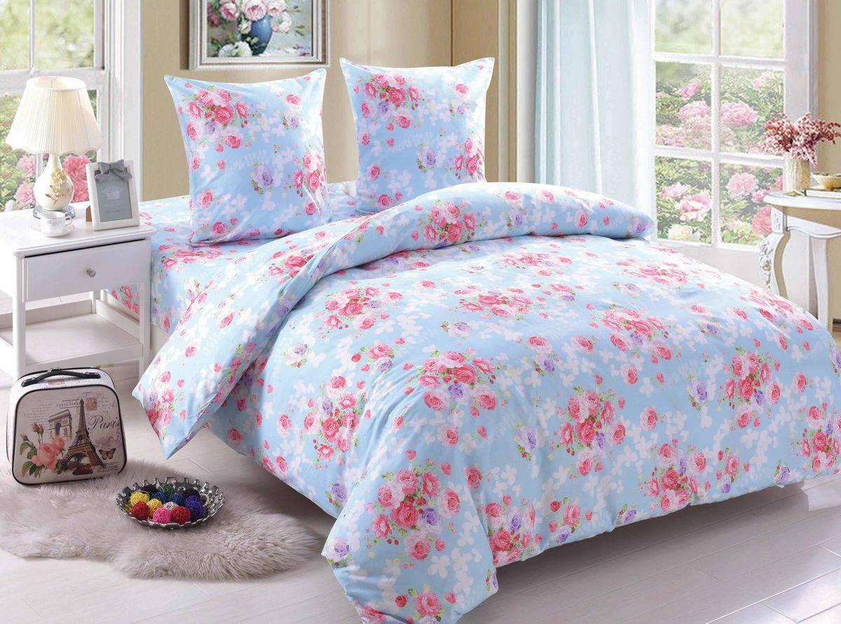 Комплект белья Amore Mio Rose, 1,5-спальный, наволочки 70x70, цвет: голубой, розовый, белый89359Постельное белье Amore Mio из поплина - оригинальные дизайны и отменное качество. Ткань - плотная и легкая, яркие рисунки, отменное качество пошива.