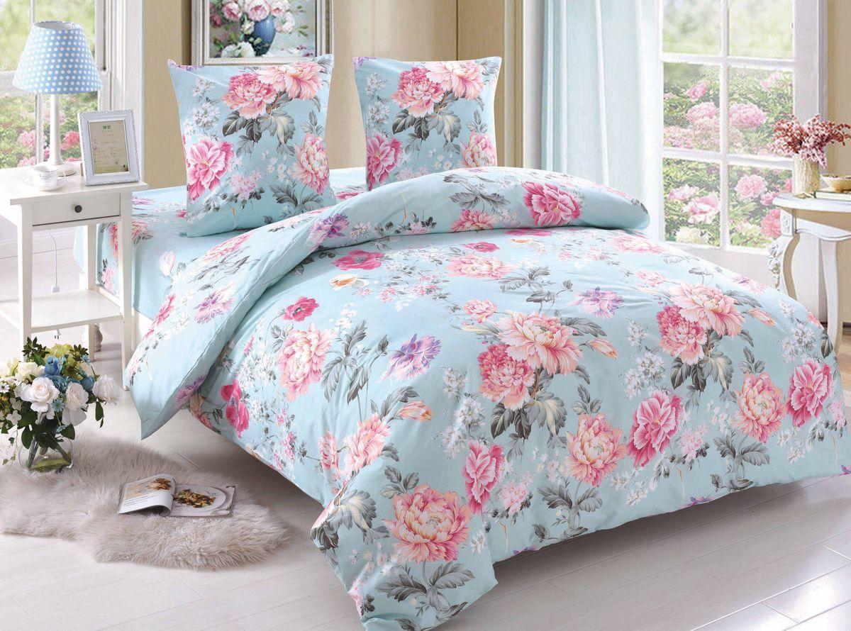 Комплект белья Amore Mio Caroline, 1,5-спальный, наволочки 70x70, цвет: голубой, розовый