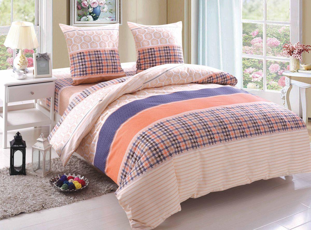 Комплект белья Amore Mio James, 1,5-спальный, наволочки 70x70, цвет: оранжевый, бежевый, фиолетовый89362Постельное белье Amore Mio из поплина - оригинальные дизайны и отменное качество. Ткань - плотная и легкая, яркие рисунки, отменное качество пошива.