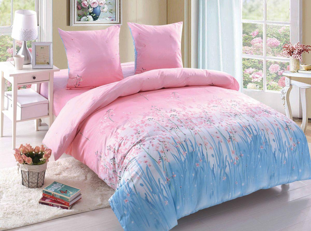 Комплект белья Amore Mio Nicole, 1,5-спальный, наволочки 70x70, цвет: розовый, голубой, белый