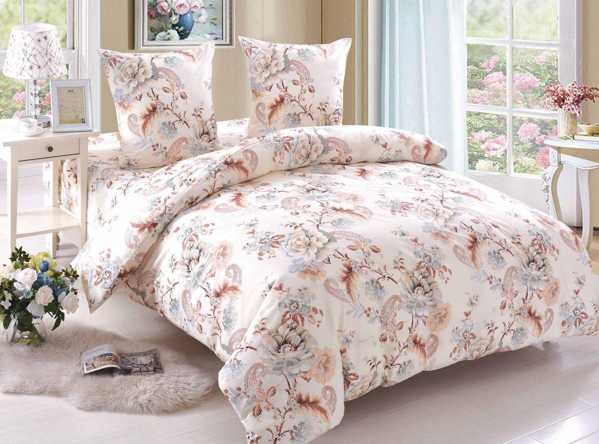 Комплект белья Amore Mio Grace, 2-спальный, наволочки 70x70, цвет: бежевый, коричневый
