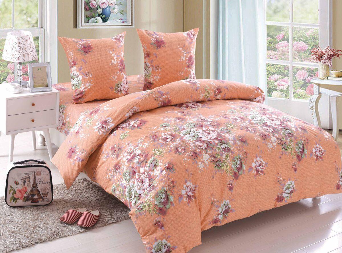 Комплект белья Amore Mio Rachel, 2-спальный, наволочки 70x70, цвет: оранжевый, красный, белый, зеленый