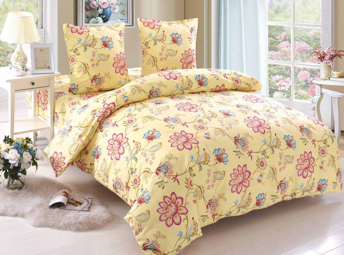 Комплект белья Amore Mio Rita, 2-спальный, наволочки 70x70, цвет: желтый, розовый, голубой зеленый89390Постельное белье Amore Mio из поплина - оригинальные дизайны и отменное качество. Ткань - плотная и легкая, яркие рисунки, отменное качество пошива.