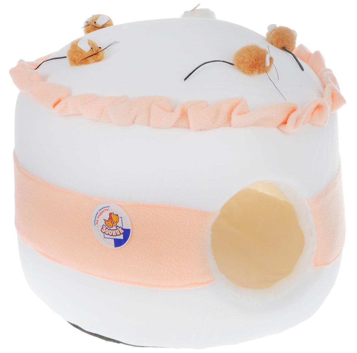 Домик для животных Зооник Тортик с мышками, цвет: белый, персиковый, 43 х 43 х 30 см геннадий норд тортик с сюрпризом или заметки из барсетки 7