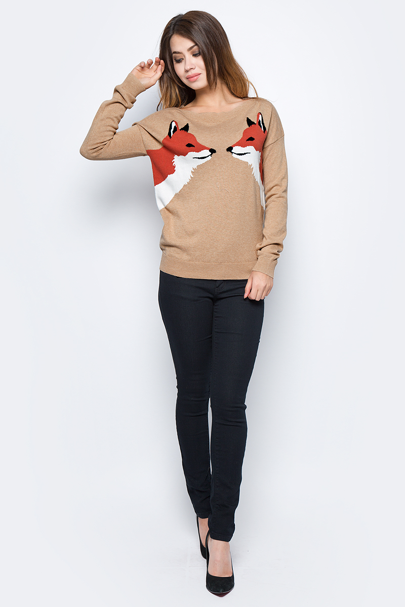Джемпер женский Sela, цвет: бежевый меланж. JR-114/2077-7432. Размер M (46)JR-114/2077-7432
