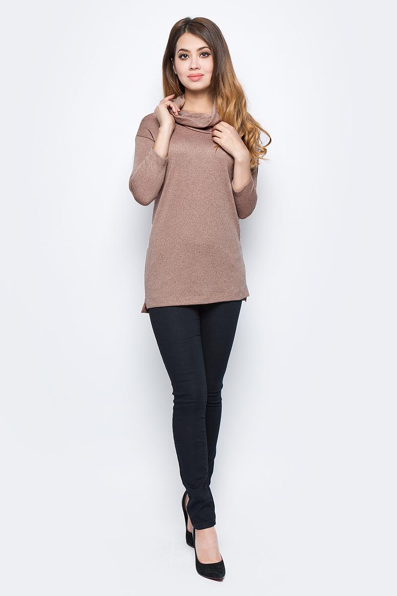 Джемпер женский Sela, цвет: кофейный крем меланж. Tt-111/1304-7422. Размер XS (42) sela se001ewopz57 sela