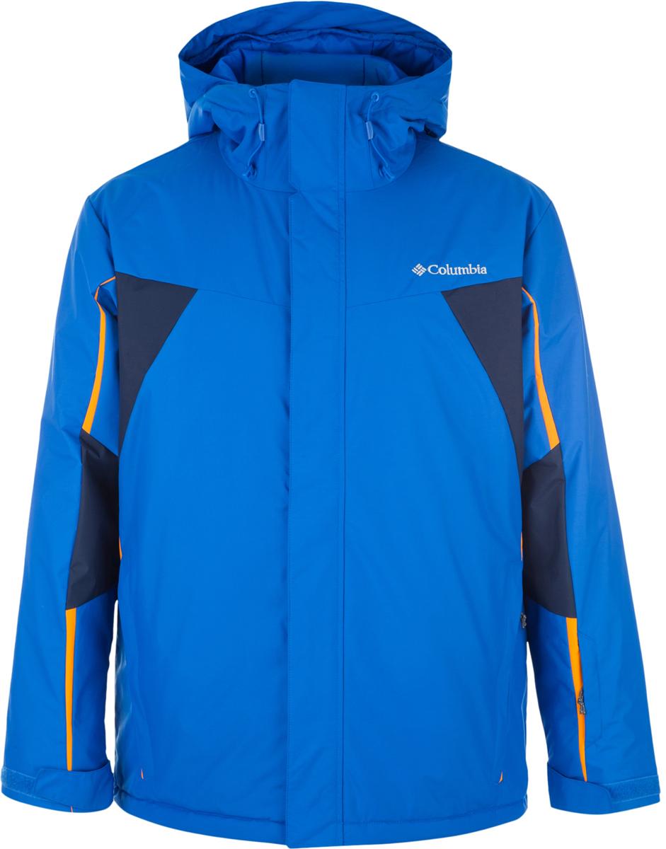 Куртка мужская Columbia Shredinator Jacket Mens Ski, цвет: синий. 1736911-439. Размер XXL (56/58)1736911-439Утепленная мужская куртка Shredinator от Columbia - отличный выбор для катания на горных лыжах и активного отдыха. Модель прямого кроя с несъемным капюшоном выполнена из плотного материала с водонепроницаемым покрытием. Куртка застегивается на молнию и имеет ветрозащитный клапан на липучках и снегозащитную юбку. Рукава регулируются липучками. Куртка дополнена четырьмя карманами на молниях.