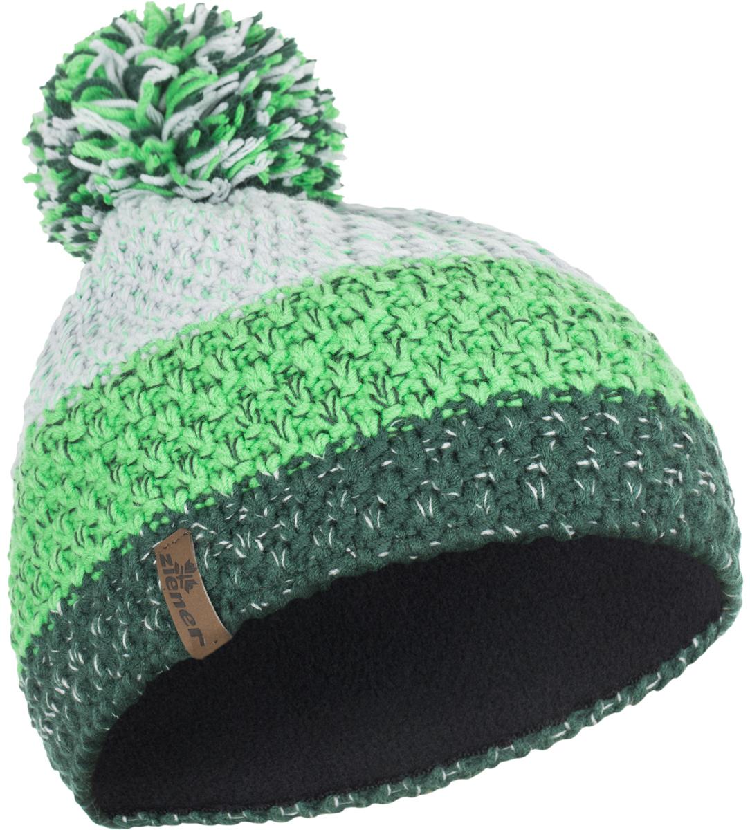 Шапка Ziener Intercontinental Hat, цвет: серый, зеленый. 170053-961. Размер универсальный170053-961Шапка Ziener Intercontinental Hat отлично дополнит ваш образ в холодную погоду. Модель изготовлена из акриловой пряжи, что максимально сохраняет тепло и обеспечивает удобную посадку. Шапка оформлена помпоном.