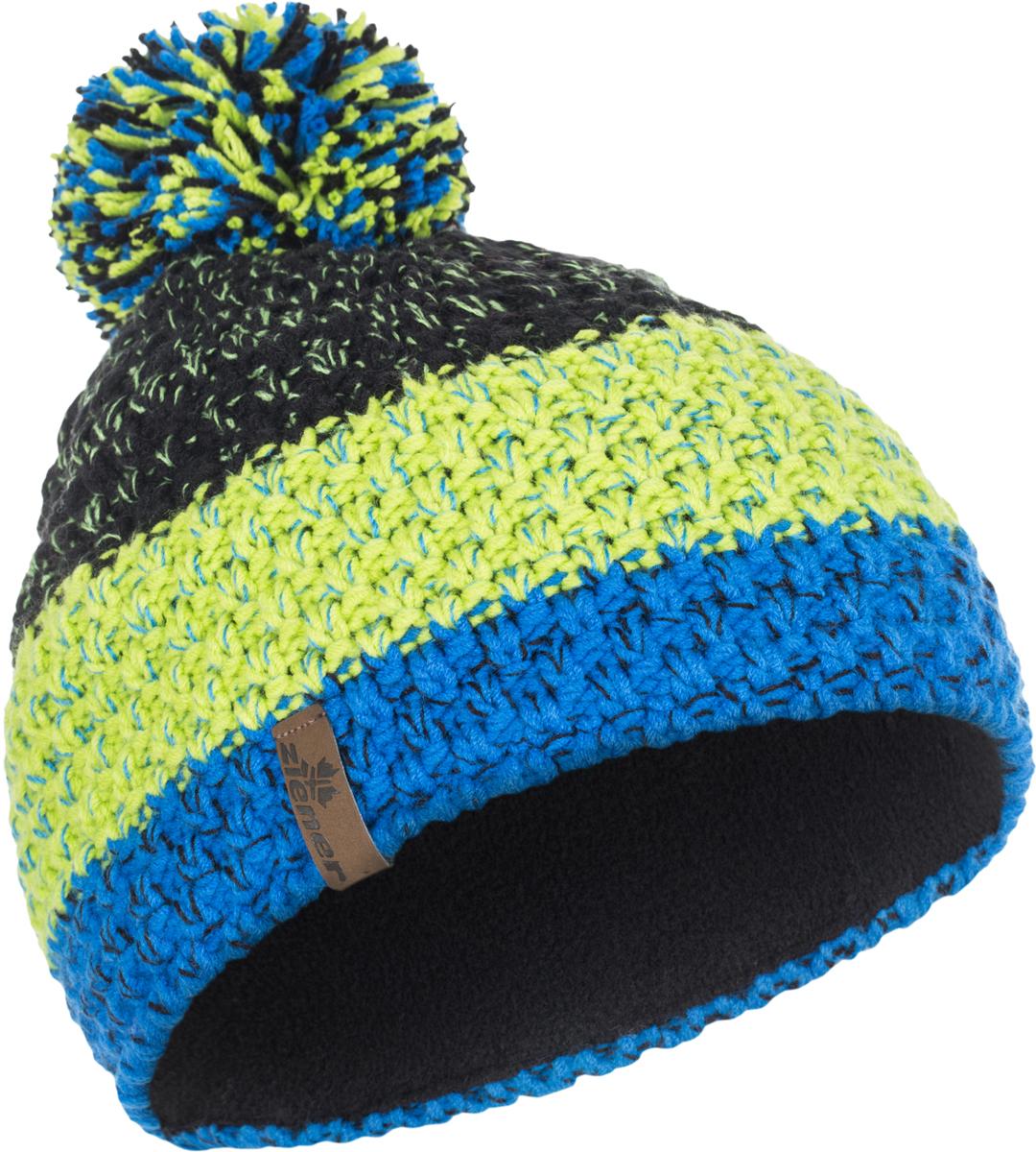 Шапка Ziener Intercontinental Hat, цвет: голубой, салатовый, черный. 170053-12568. Размер универсальный170053-12568Шапка Ziener Intercontinental Hat отлично дополнит ваш образ в холодную погоду. Модель изготовлена из акриловой пряжи, что максимально сохраняет тепло и обеспечивает удобную посадку. Шапка оформлена помпоном.
