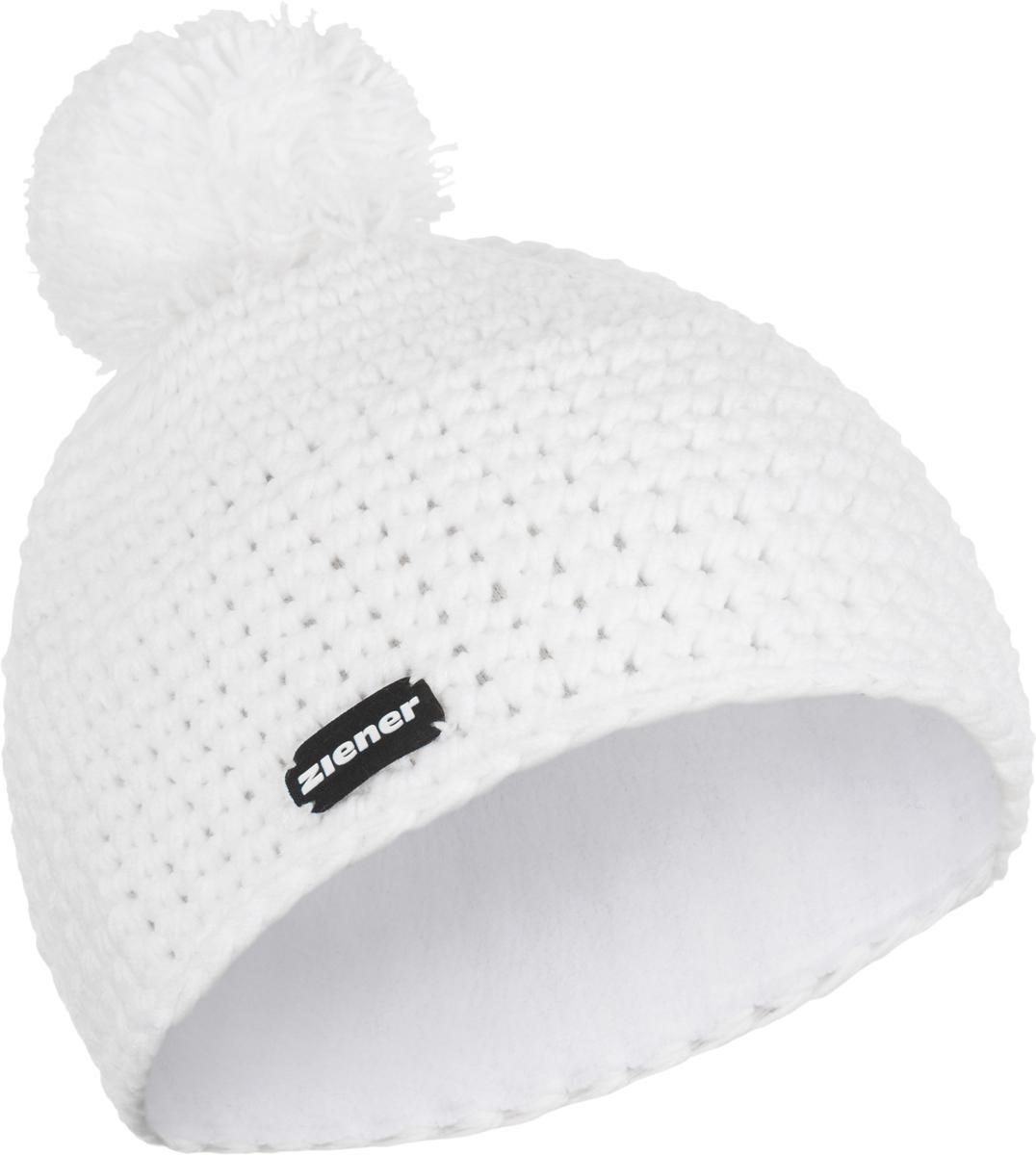 Шапка Ziener Intercontinental Hat, цвет: белый. 170053-01. Размер универсальный170053-01Шапка Ziener Intercontinental Hat отлично дополнит ваш образ в холодную погоду. Модель изготовлена из акриловой пряжи, что максимально сохраняет тепло и обеспечивает удобную посадку. Шапка оформлена помпоном.