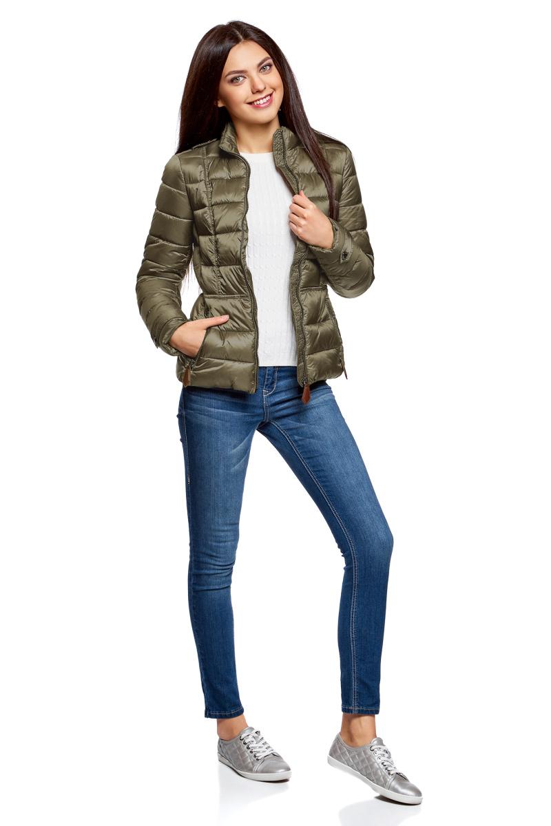 Куртка жен oodji Collection, цвет: темный хаки. 20204046/45797/6800N. Размер 42-170 (48-170)20204046/45797/6800N