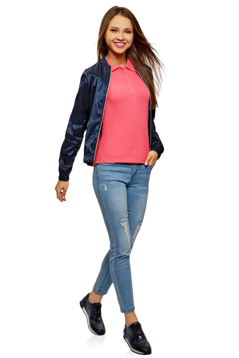 Поло женское oodji Ultra, цвет: ярко-розовый, 2 шт. 19301001T2/46161/4D00N. Размер M (46)19301001T2/46161/4D00NЖенское поло от oodji выполнено из ткани пике. Модель с короткими рукавами и отложным воротником на груди застегивается на пуговицы. В комплект входят две футболки-поло.