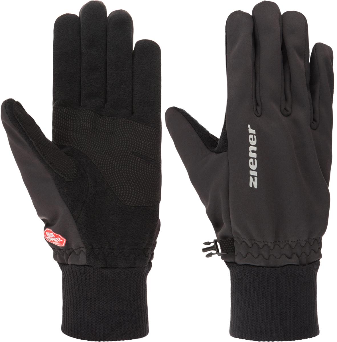 Перчатки Ziener Idealist Glove, цвет: черный. 150094-12. Размер 10150094-12Перчатки для беговых лыж классической формы. Специальная узкая манжета заправляется под рукав, обеспечивает удобство и комфорт движения. Технология Ziener Idealist Glove обеспечивает максимальный комфорт и свободу движения. Модель выполнена из ткани Soft Shell, которая защищает от непогоды, и в то же время остается комфортной изнутри. Наружная сторона Soft Shell - ветронепроницаемый барьер, который помогает поддерживать микроклимат внутри: впитывает влагу с внутренней поверхности и очень быстро испаряет ее в окружающее пространство, не снижая воздухопроницаемых свойств. При этом вода снаружи проникает не быстрее, чем испаряется изнутри либо успевает нагреться во внутреннем слое до температуры, комфортной для тела.