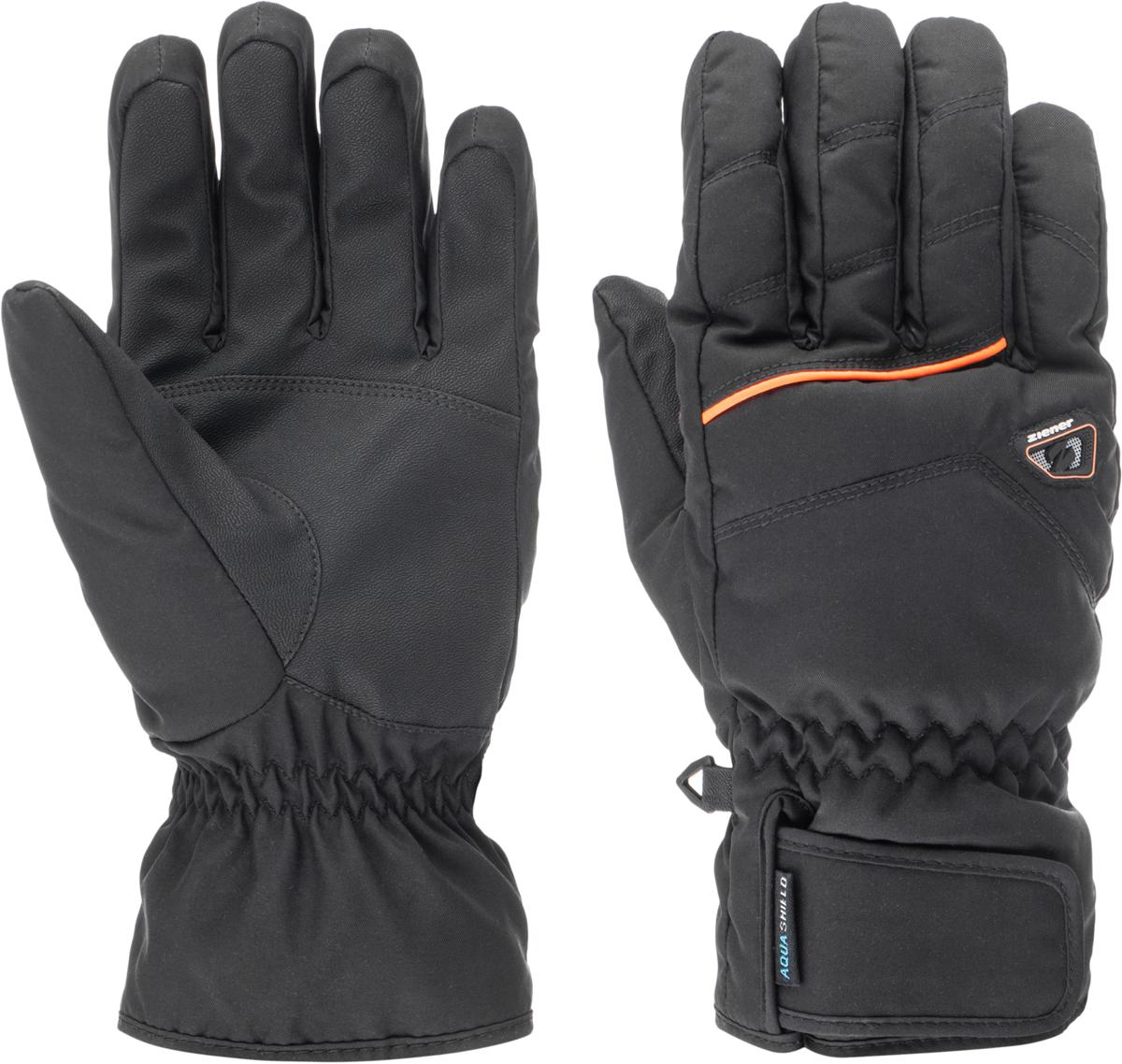 Перчатки мужские Ziener Gilligan As Sm Glove Ski Alpine, цвет: черный. 150050-12738. Размер 8150050-12738Горнолыжные перчатки классической формы. Используемая технология Aquashield обеспечивает максимально комфортные условия, благодаря специальному покрытию, которое защищает от проникновения влаги и ветра, и при этом сохраняет воздухопроницаемые свойства ткани за счет микропористой структуры. Используется технология, которая гарантирует свободу движений и максимальный комфорт во время катания. Стандартный спортивный крой, эргономичная манжета, средней толщины утеплитель, в совокупности, обеспечивают комфортные условия в использования изделия. Специальная застежка на манжете позволяет плотно фиксировать перчатку.