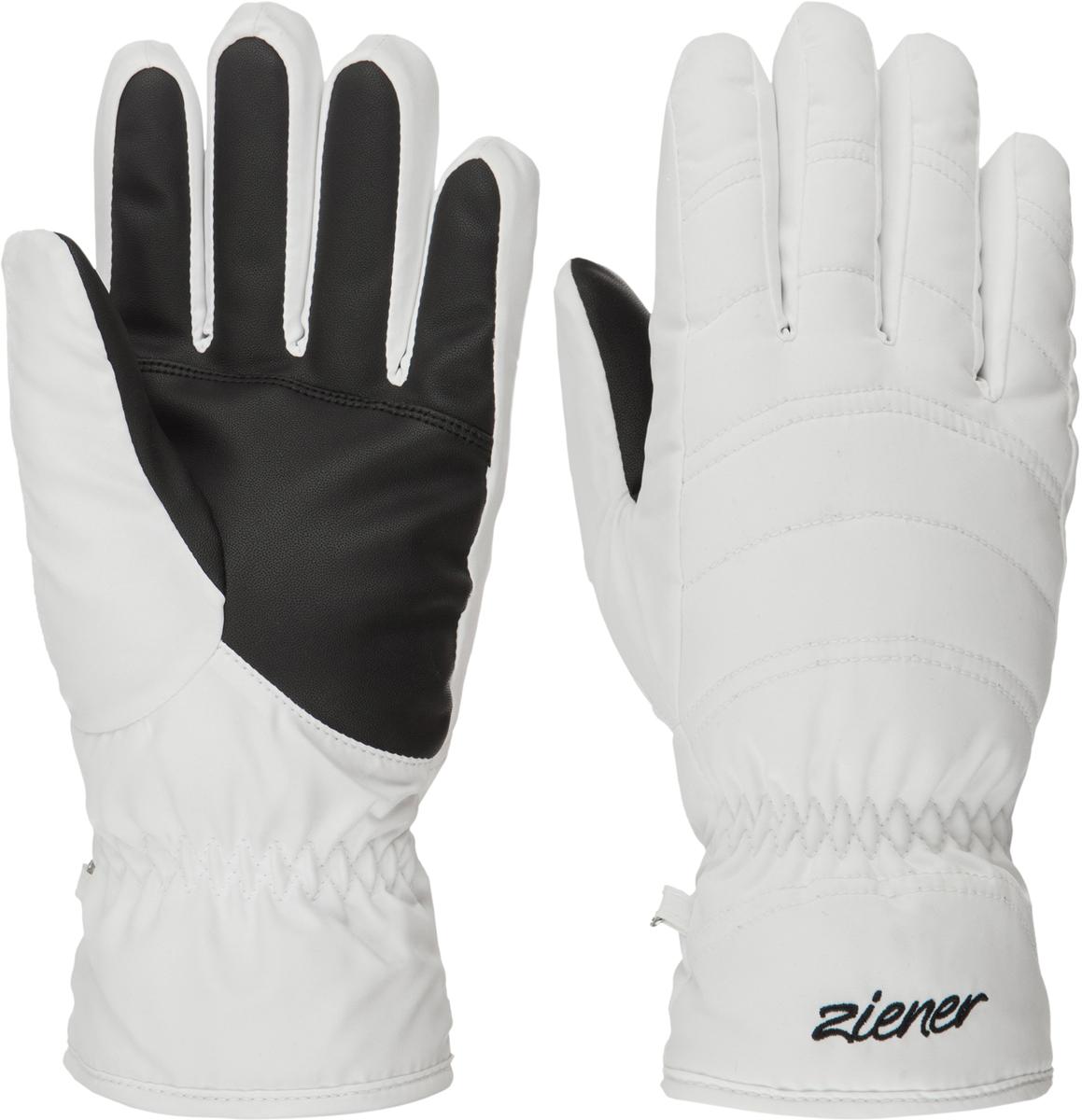 Перчатки женские Ziener Kamira Sm Lady Glove, цвет: белый. 170020-01. Размер 8170020-01Женские перчатки Ziener Kamira Sm Lady Glove выполнены из полиэстера. На запястьях изделия дополнены эластичными резинками. Подкладка выполнена из мягкого полиэстера.