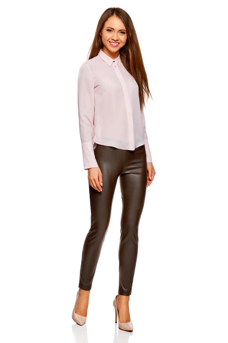 Брюки женские oodji Ultra, цвет: коричневый. 18G07001/45085/3700N. Размер 36-170 (42-170)18G07001/45085/3700NСтильные женские брюки oodji Ultra выполнены из искусственной кожи. Модель на талии дополнена широкой эластичной резинкой, сбоку потайной застежкой-молнией. Брюки-скинни со средней линией талии. Низ брючин регулируется по ширине за счет молний.
