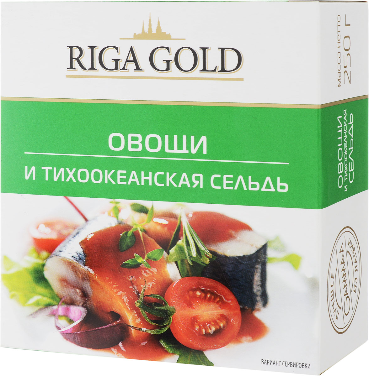 Рижское золото овощи и тихоокеанская сельдь, 250 г6180Главная специализация предприятия Рижское золото - изготовление высококачественных рыбных консервов. Секрет производства высококачественной продукции прост - в основном работа идет со свежевыловленной рыбой, рыба нанизывается на вертела вручную, коптится на ольховой стружке, укладывается в банки вручную.Собственное производство жестяной упаковки для консервов добавляет стабильности качеству и дает дополнительную гарантию высоких стандартов производимой продукции.