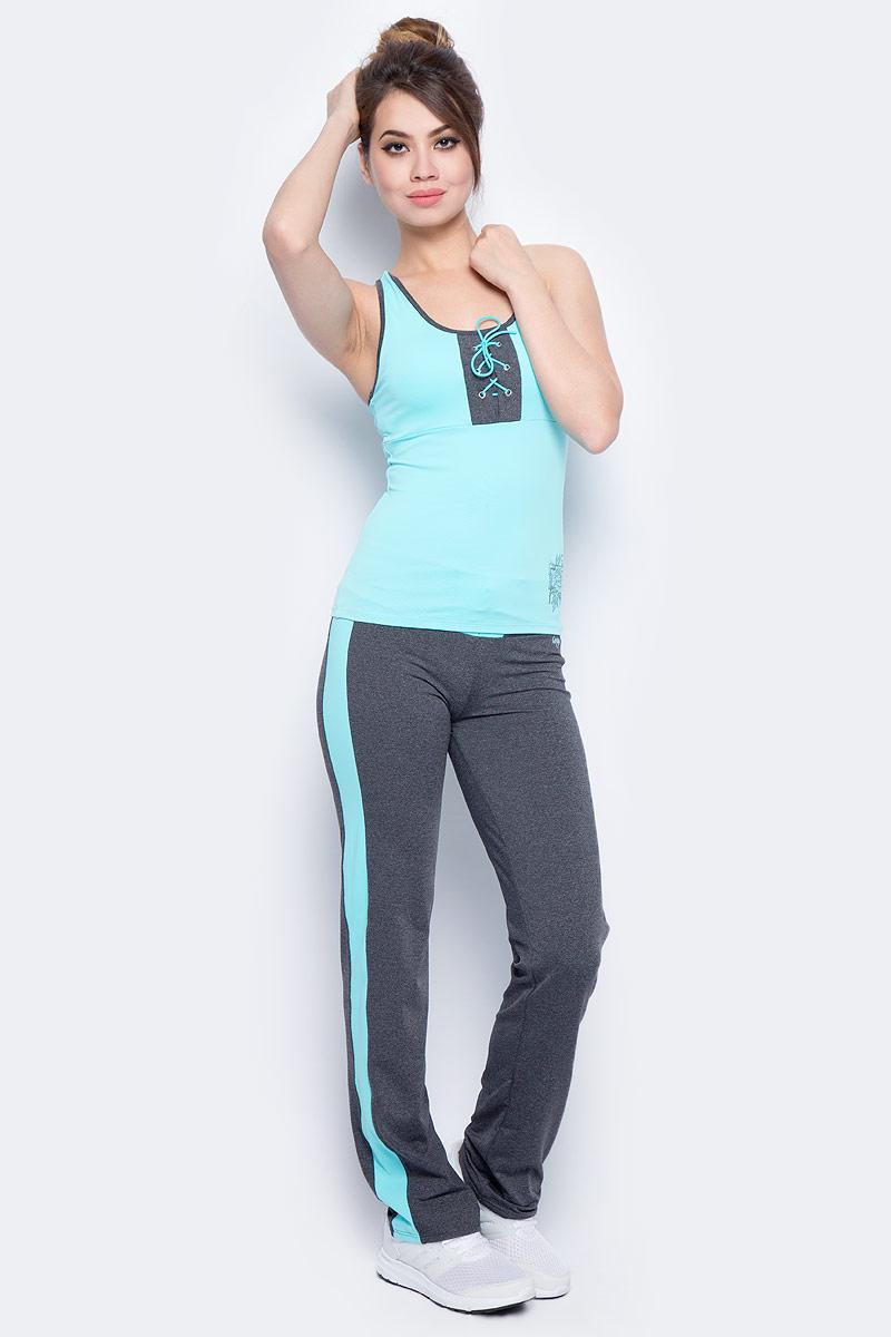 Брюки спортивные женские Grishko, цвет: голубой. AL- 3205. Размер 48AL- 3205Спортивные прямые брюки Grishko с контрастными кантами и широким плотным поясом, украшенным контрастной вставкой со шнуровкой. Модель выполнена из шелковистого, приятного на ощупь полиамида с лайкрой в оптимальном для спортивных нагрузок сочетании. Брюки не сковывают движений и подчеркивают спортивное телосложение за счет визуально корректирующих фигуру линий. Материал отлично пропускает воздух, впитывает влагу и сохраняет форму.Линия эргономичной одежды создана для всех видов активных физических нагрузок и выполнена в ультрамодных цветовых сочетаниях.