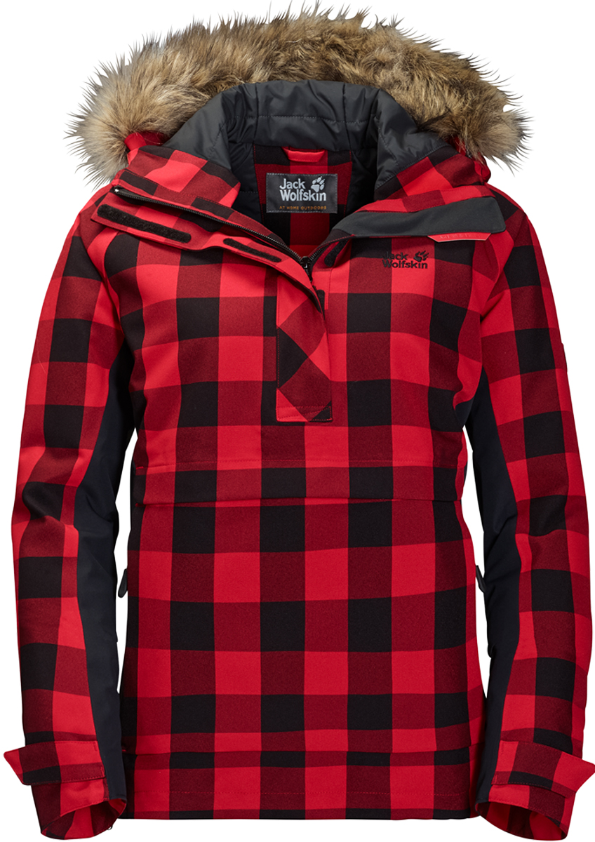 Куртка женская Jack Wolfskin Timberwolf, цвет: красный. 1109881-7989. Размер L (50)1109881-7989Водонепроницаемая утепленная штормовка от Jack Wolfskin с капюшоном из искусственного меха и узором в канадскую клетку, по функциональности, и по стилю штормовка Timberwolf (Тимбервольф) - то, что нужно для долгих походов в лесах Канады. Эта куртка, выполненная в стиле штормовки, не только надежно защищает от непогоды, но также согревает зимой и напоминает о Канаде. Когда погода портится, модель Timberwolf (Тимбервольф) защитит вас от ветра и не даст вам промокнуть за целый день. Синтетический утеплитель Microguard (Майкрогард) согреет вас, когда под ногами будет похрустывать свежий снежок. Особенно удобен глубокий капюшон с опушкой из искусственного меха. Опушка защищает ваше лицо от холодного ветра. Застежка у модели Timberwolf (Тимбервольф) расположена сбоку, чтобы ее легче было надевать и снимать. Куртка имеет вшитый капюшон с возможностью регулировать внутренний объем и область обзора, и съемной оторочкой из искусственного меха, 2 кармана на бедрах, боковую молния.