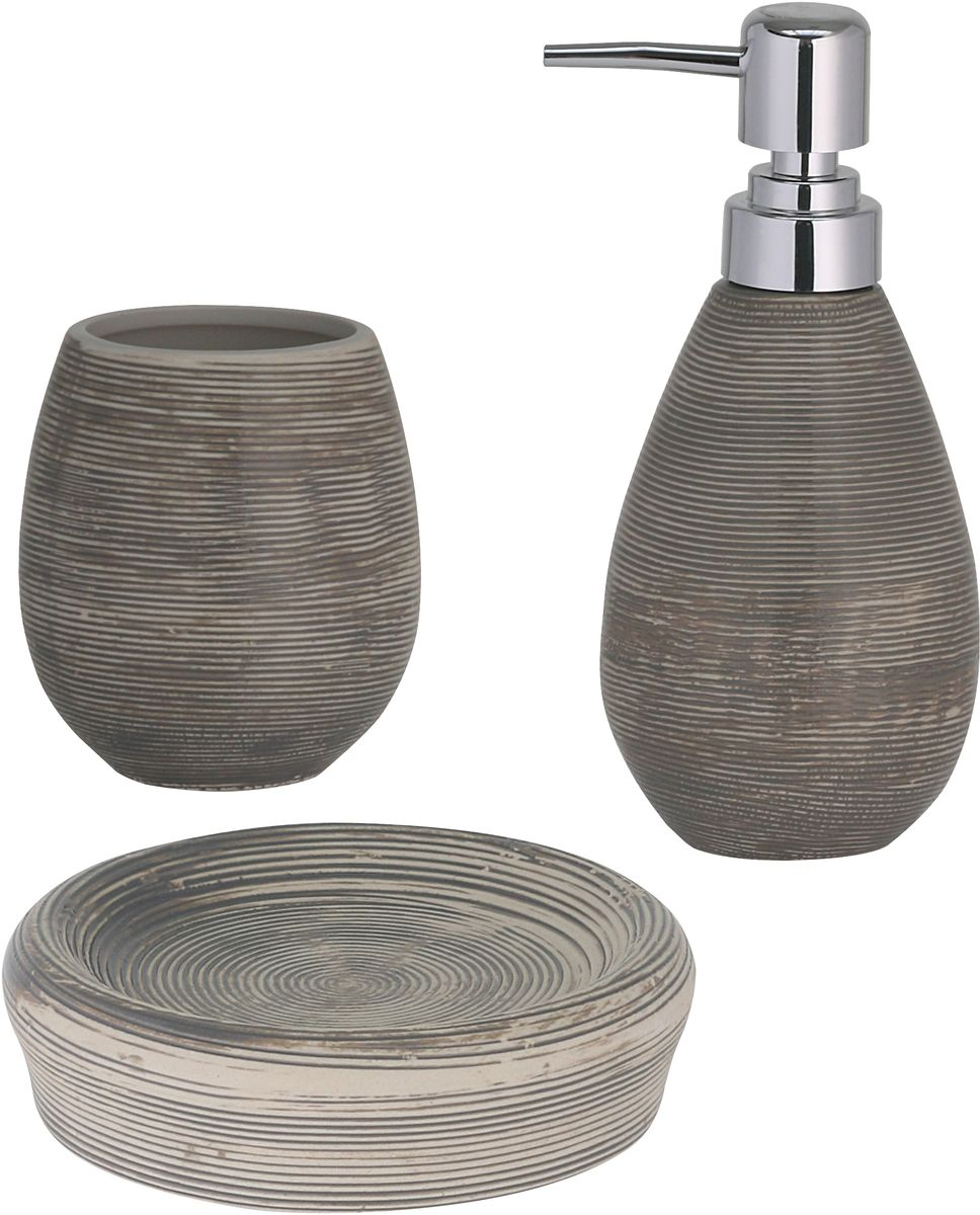 Набор для ванной комнаты Axentia Oxford, цвет: серый, 3 предмета луч набор для изготовление мыла цветы