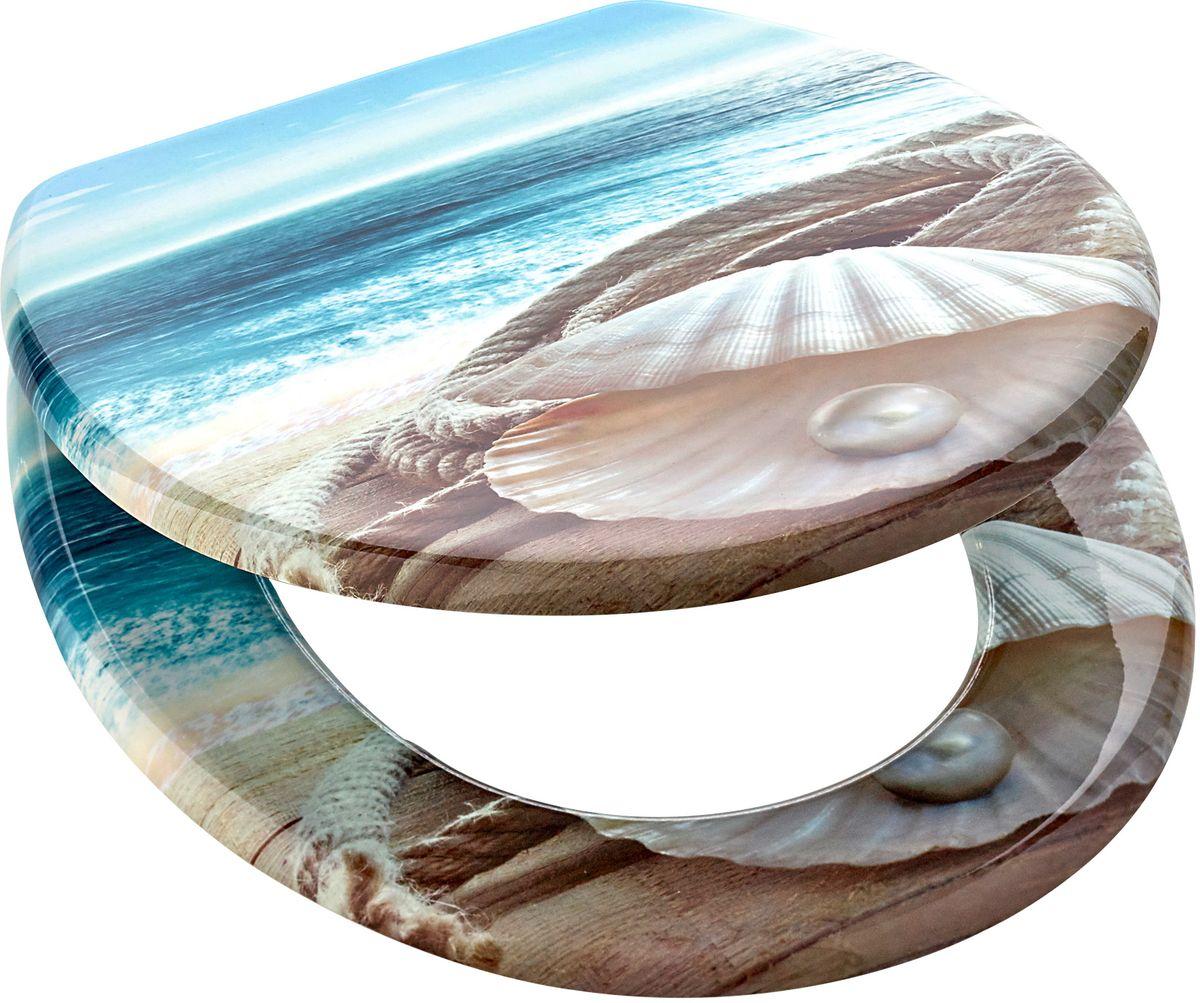 Сиденье для унитаза Axentia Пляжный мотив, цвет: коричневый, голубой, 43,5 х 36 х 5 см126895Сиденье для унитаза Axentia из MDF с трехсторонней печатью, мотив - пляжный. Петли из нержавеющей стали.Размер 43.5 х 36 х 5 см., в картонной коробке.