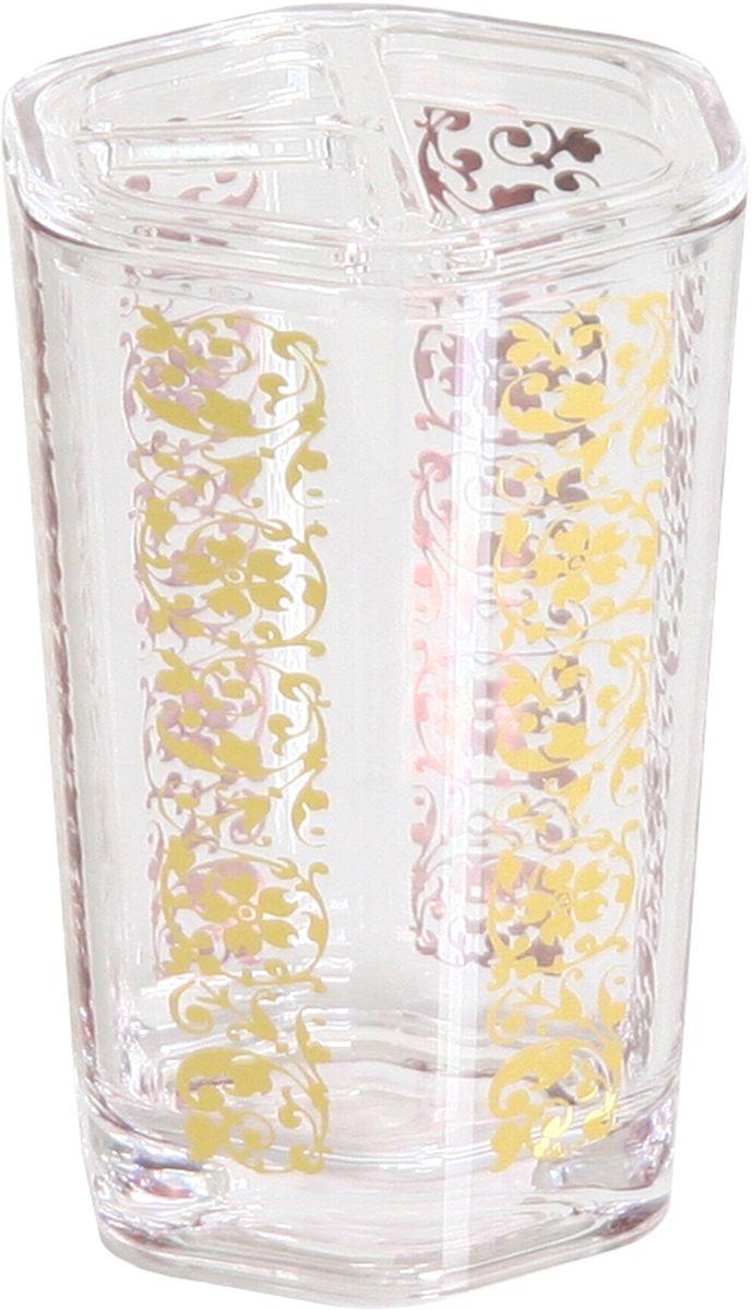 Стакан для ванной комнаты Axentia Vanja, цвет: прозрачный, золотой, высота 11,5 см282015Стакан для ванной комнаты Axentia Vanja прекрасно дополнит интерьер вашей ванной. Изделие выполнено из акрила и оформлено рельефным узором. В таком стакане удобно хранить зубные щетки, тюбики с зубной пастой и другие принадлежности.Стакан для ванной комнаты Axentia Vanjaукрасит интерьер ванной и добавит в обычную обстановку яркие и модные акценты.Диаметр (по верхнему краю): 7,5 .Высота: 11,5 см.