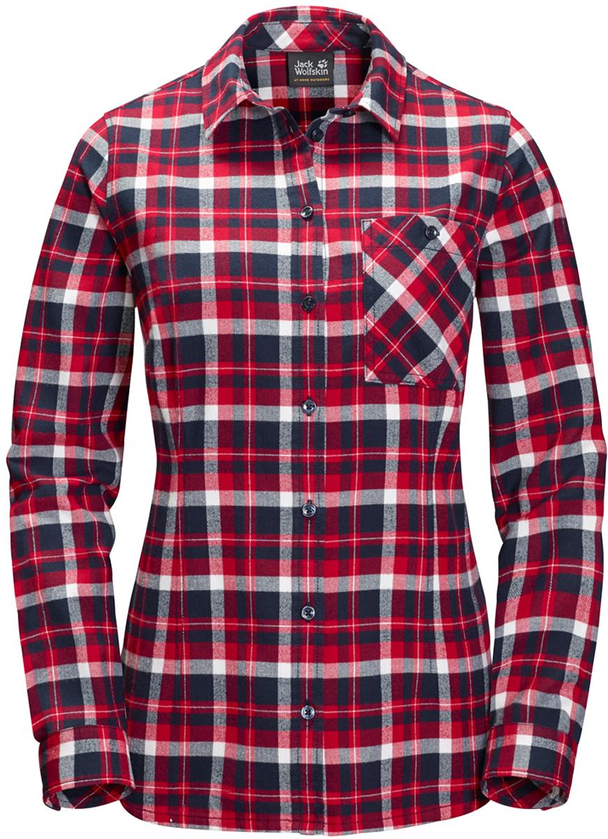 Рубашка женская Jack Wolfskin Banff Park Shirt, цвет: красный, синий. 1402481-7940. Размер M (48)1402481-7940Теплая клетчатая рубашка от Jack Wolfskin «Banff Park Shirt» из органического хлопка - идеальный наряд для пятницы без дресс-кода или для лесной хижины. Рубашка Banff Park Shirt (Банф Парк Шерт) - это очень женственная версия традиционной рубашки в стиле канадских дровосеков. Эта клетчатая рубашка - настоящий маст-хэв, который можно надеть куда угодно. Мягкая фланель уютная и теплая, а органический хлопок очень приятен на ощупь.