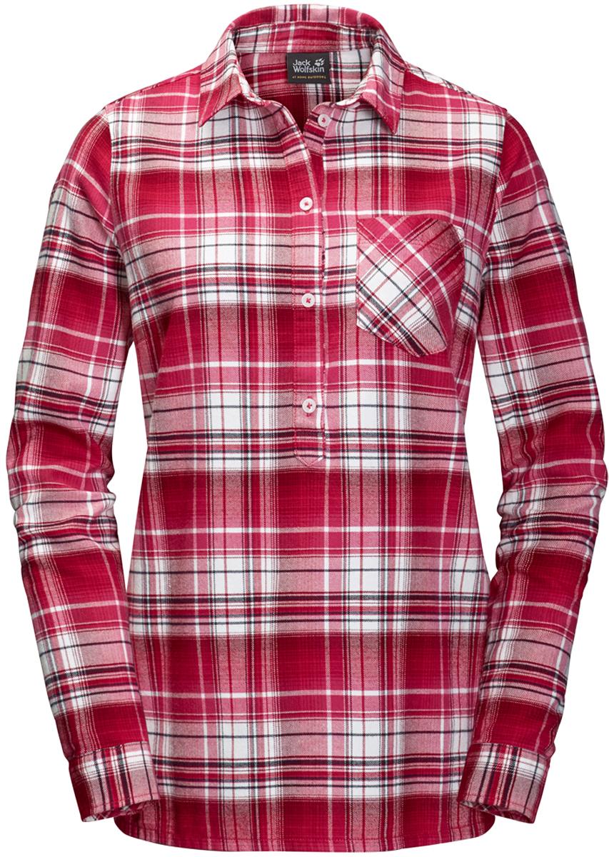 Рубашка женская Jack Wolfskin Grange Park Shirt, цвет: красный. 1402451-7286. Размер XXL (56)1402451-7286Женская клетчатая рубашка от Jack Wolfskin «Grange Park Shirt» из органического хлопка с планкой для пуговиц на половину длины. Стиль вне времени и знаковые детали. Отличительные черты этой модели - планка для пуговиц на половину длины и слегка удлиненный покрой. Вам обеспечен комфорт на всю зиму - от первых снежинок до последнего утреннего заморозка.Полностью натуральная ткань невероятно комфортна при ношении и на ощупь. И не только зимой - вы сможете носить эту рубашку круглый год. Нагрудный карман предназначен для хранения важных мелочей.