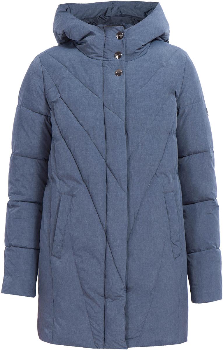 Куртка женская Finn Flare, цвет: темно-синий. W17-11004_101. Размер XL (50)W17-11004_101Теплая женская куртка изготовлена из качественного полиэстера и нейлона. Модель с длинными рукавами и капюшоном застегивается на молнию и кнопки. По бокам расположены врезные карманы.