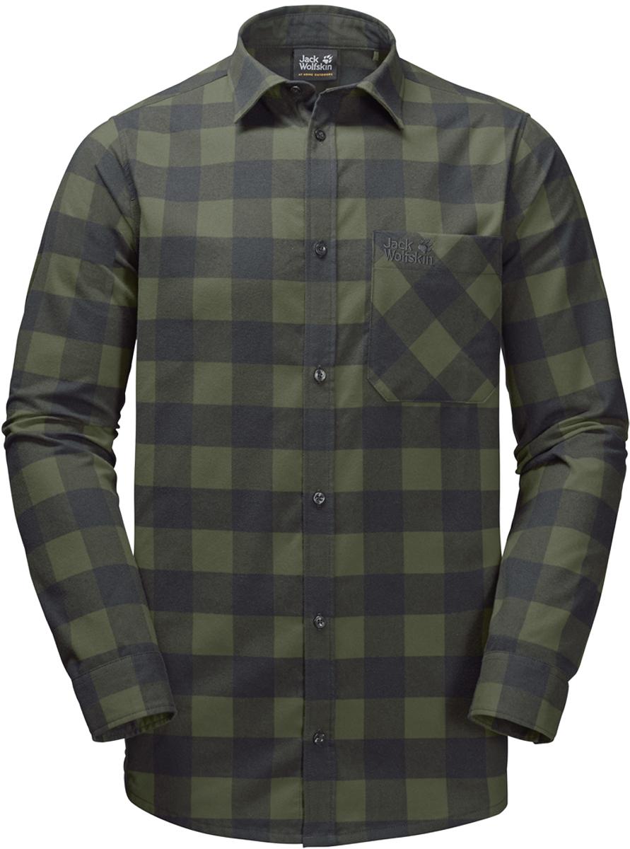 Рубашка мужская Jack Wolfskin Red River Shirt, цвет: зеленый. 1402551-7825. Размер XXL (54)1402551-7825Прочная клетчатая рубашка Jack Wolfskin Red River Shirt в стиле траппер изготовлена из практичной и прочной фланели с влагоотводящими свойствами. Модель прямого кроя с длинными рукавами с манжетами на пуговицах застегивается на пуговицы.Теплый материал очень приятен на ощупь и не требует особого ухода. А еще он прекрасно дышит, что делает рубашку идеальной для активного отдыха на открытом воздухе зимой. Нагрудный карман с клапаном с легкостью вместит ваш навигатор, смартфон или энергетический батончик.