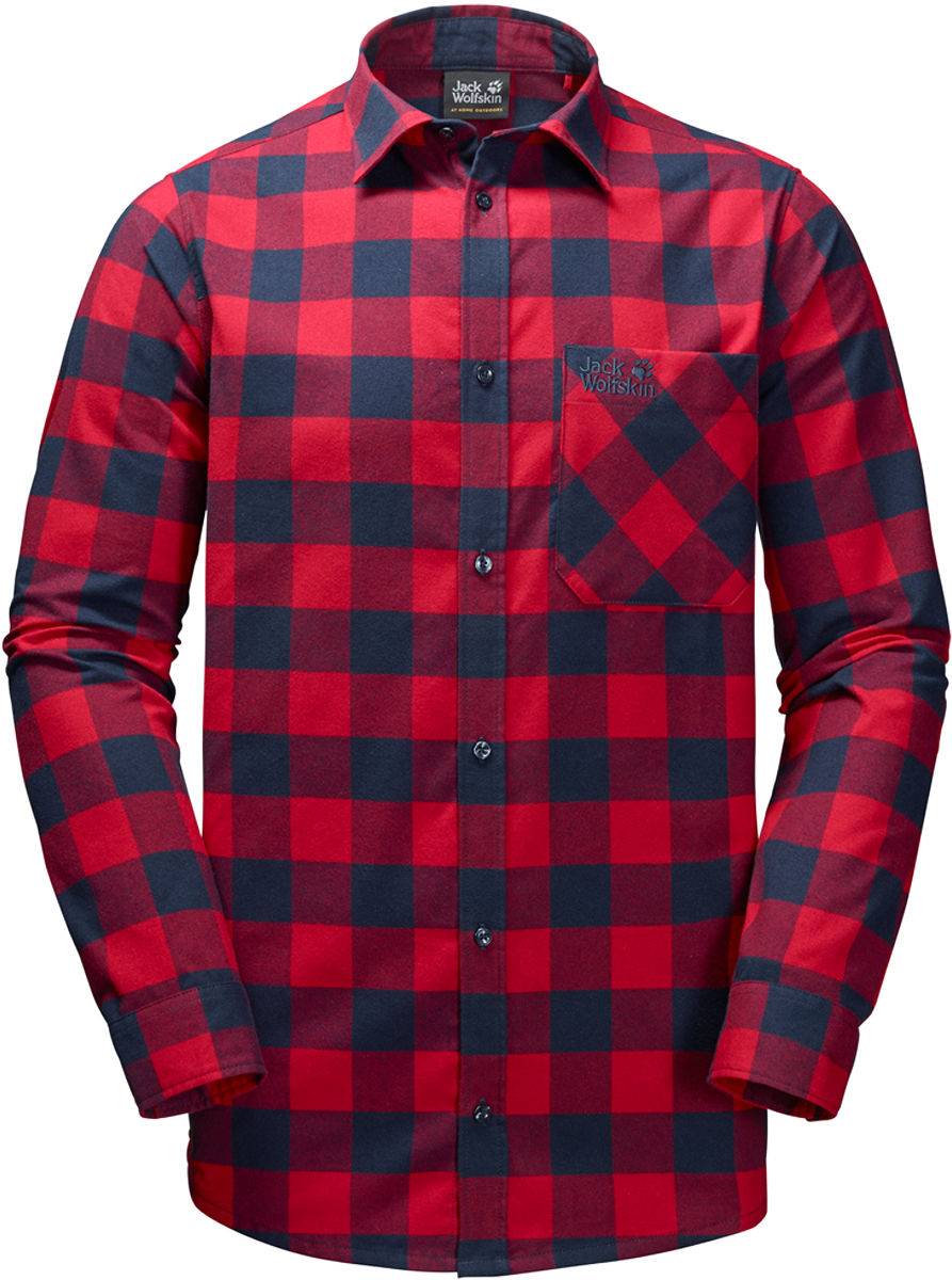 Рубашка мужская Jack Wolfskin Red River Shirt, цвет: красный. 1402551-7286. Размер XXL (54)1402551-7286Прочная клетчатая рубашка Jack Wolfskin Red River Shirt в стиле траппер изготовлена из практичной и прочной фланели с влагоотводящими свойствами. Модель прямого кроя с длинными рукавами с манжетами на пуговицах застегивается на пуговицы.Теплый материал очень приятен на ощупь и не требует особого ухода. А еще он прекрасно дышит, что делает рубашку идеальной для активного отдыха на открытом воздухе зимой. Нагрудный карман с клапаном с легкостью вместит ваш навигатор, смартфон или энергетический батончик.
