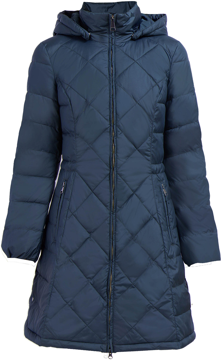 Пальто женское Finn Flare, цвет: темно-синий. W17-11013_101. Размер L (48)W17-11013_101Пальто Finn Flare изготовлено из качественного полиэстера. Модель с длинными рукавами и съемным капюшоном застегивается на молнию. На талии имеется шнурок-утяжка. Пальто дополнено спереди прорезными карманами на молниях.
