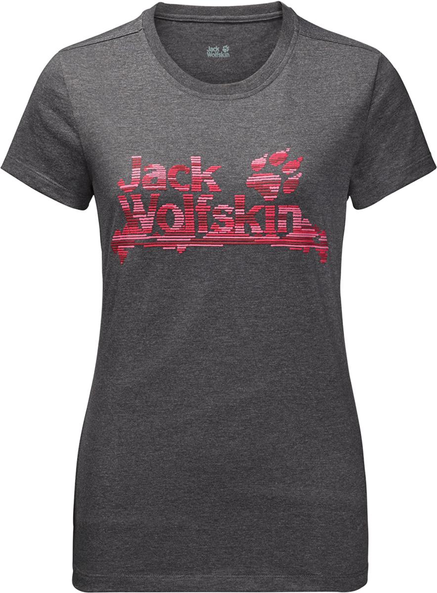 Футболка женская Jack Wolfskin Brand T, цвет: темно-серый. 1805931-6350. Размер XS (42)1805931-6350Женская футболка Jack Wolfskin Brand T - изготовлена из органического хлопка и полиэстера. Ткань легкая и мягкая, быстро сохнет, приятная на ощупь и очень прочная. Модель прямого кроя с короткими рукавами оформлена принтованным логотипом бренда. Круглый вырез горловины дополнен мягкой трикотажной резинкой. В такой футболке вам будет комфортно весь день, она универсальна и подходит для повседневной жизни так же хорошо, как и для активного отдыха и занятий спортом.