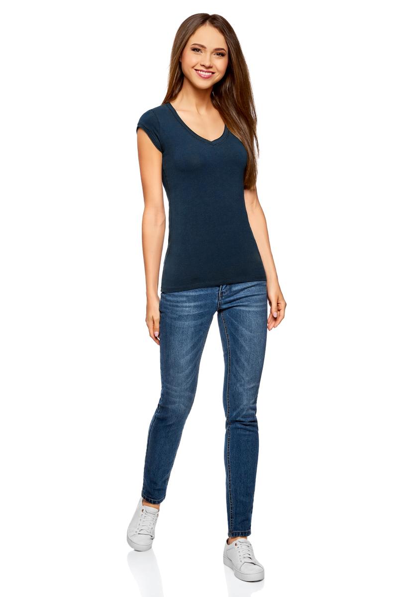 Футболка женская oodji Ultra, цвет: темно-синий, 2 шт. 14711002T2/46157/7900N. Размер XL (50)14711002T2/46157/7900NБазовая футболка от oodji выполнена из эластичного хлопкового трикотажа. Модель с короткими рукавами и глубоким декольте. В комплект входят две футболки.