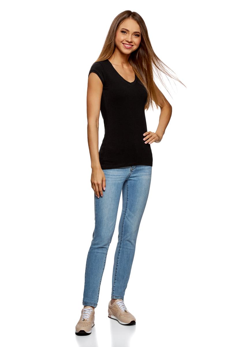 Футболка женская oodji Ultra, цвет: черный, 2 шт. 14711002T2/46157/2900N. Размер XS (42)14711002T2/46157/2900NБазовая футболка от oodji выполнена из эластичного хлопкового трикотажа. Модель с короткими рукавами и глубоким декольте. В комплект входят две футболки.