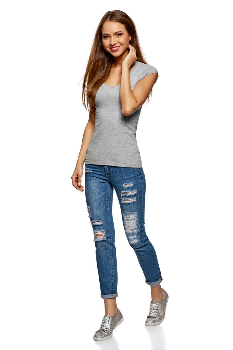 Футболка женская oodji Ultra, цвет: светло-серый меланж, 2 шт. 14711002T2/46157/2000M. Размер M (46)14711002T2/46157/2000MБазовая футболка от oodji выполнена из эластичного хлопкового трикотажа. Модель с короткими рукавами и глубоким декольте. В комплект входят две футболки.