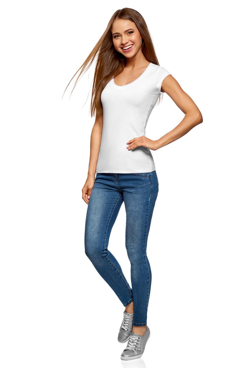 Футболка женская oodji Ultra, цвет: красный, белый, 2 шт. 14711002T2/46157/19L7N. Размер XXS (40)14711002T2/46157/19L7NБазовая футболка от oodji выполнена из эластичного хлопкового трикотажа. Модель с короткими рукавами и глубоким декольте. В комплект входят две футболки.