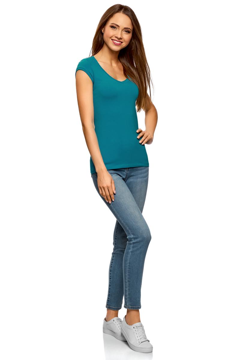 Футболка женская oodji Ultra, цвет: бирюзовый, серый, 2 шт. 14711002T2/46157/19L0N. Размер XXS (40)14711002T2/46157/19L0NБазовая футболка от oodji выполнена из эластичного хлопкового трикотажа. Модель с короткими рукавами и глубоким декольте. В комплект входят две футболки.