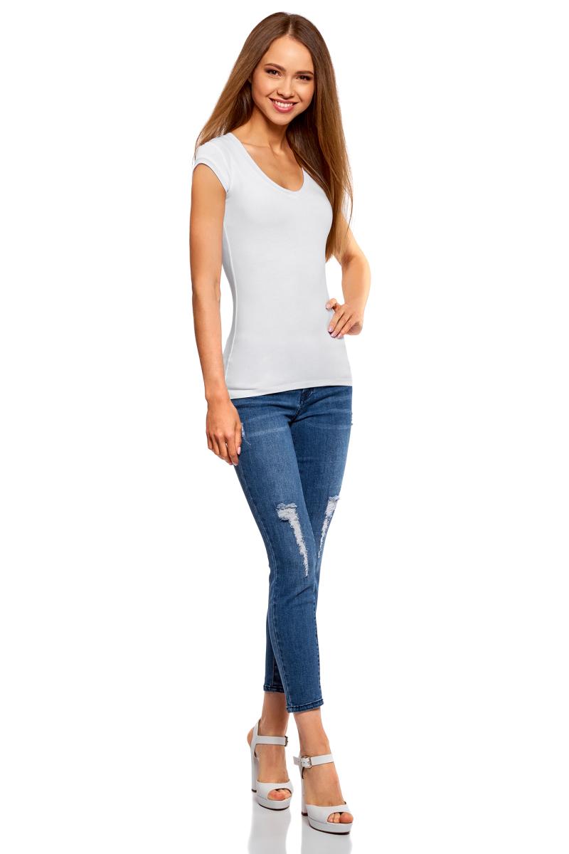 Футболка женская oodji Ultra, цвет: белый, черный, 2 шт. 14711002T2/46157/19J0N. Размер L (48)14711002T2/46157/19J0NБазовая футболка от oodji выполнена из эластичного хлопкового трикотажа. Модель с короткими рукавами и глубоким декольте. В комплект входят две футболки.