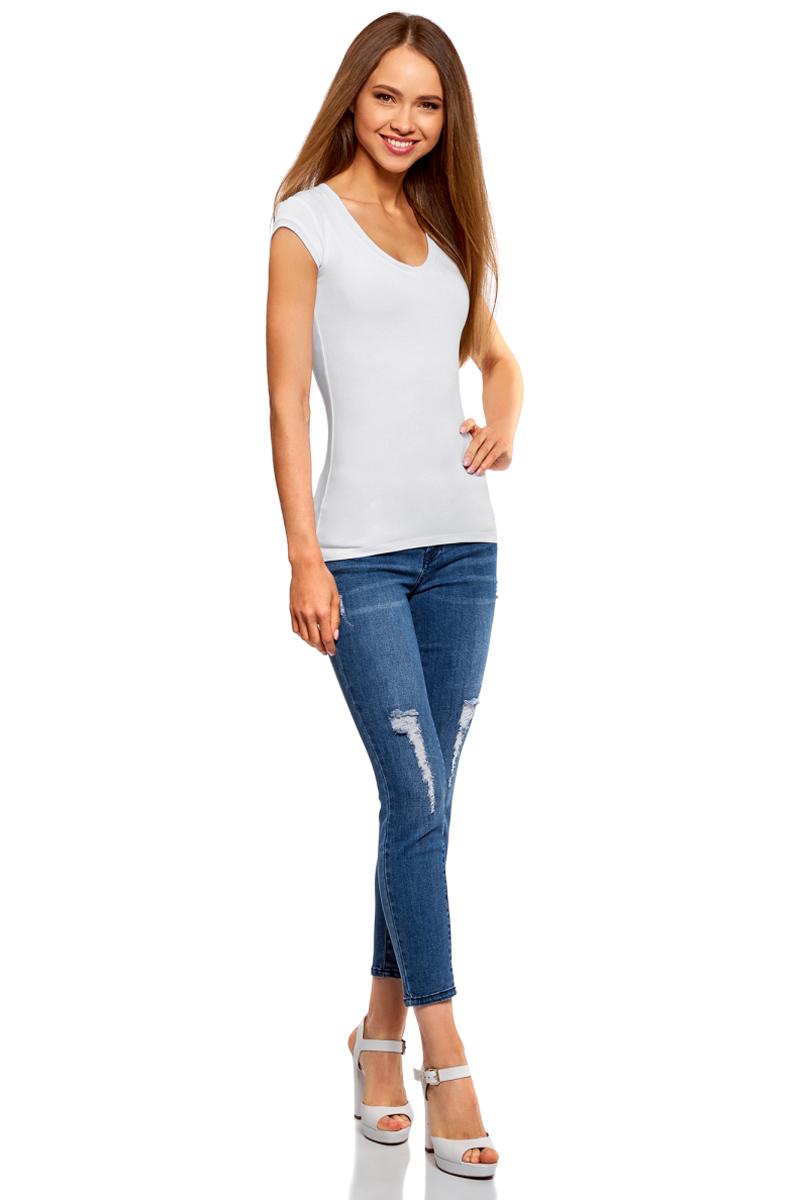 Футболка женская oodji Ultra, цвет: белый, 2 шт. 14711002T2/46157/1000N. Размер S (44)14711002T2/46157/1000NБазовая футболка от oodji выполнена из эластичного хлопкового трикотажа. Модель с короткими рукавами и глубоким декольте. В комплект входят две футболки.
