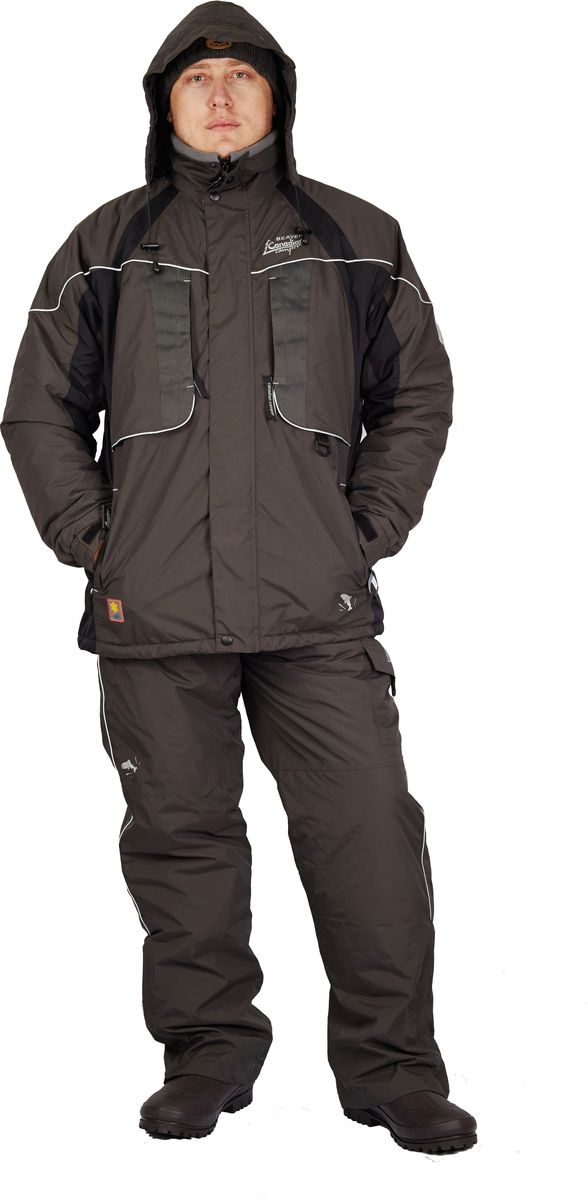 Костюм универсальный мужской Canadian Camper Beaver: куртка, полукомбинезон, цвет: серый. Beaver_Grey. Размер XL (50/52)Beaver_GreyКостюм универсальный мужской Canadian Camper Beaver выполнен из нейлона. Подойдет для лодочной осенней рыбалки и ловли рыбы со льда. Полностью непромокаемый. Вентиляционная система на куртке - отверстия на молнии защищенные сеткой. Модель дополнена теплой стеганной подкладкой и большими утепленными карманами на куртке и комбинезоне. Светоотражающие нашивки и канты безопасности.