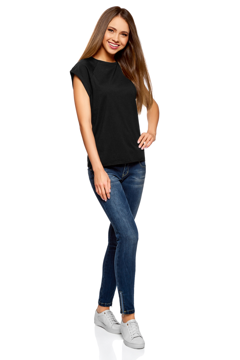 Футболка женская oodji Ultra, цвет: черный, 2 шт. 14707001T2/46154/2900N. Размер S (44)14707001T2/46154/2900NЖенская футболка свободного кроя oodji Ultra изготовлена из высококачественного натурального хлопка. Модель с короткими рукавами-реглан и круглым вырезом горловины оформлена декоративными отворотами на рукавах. Низ футболки имеет эффект необработанного края. В комплект входят 2 футболки.