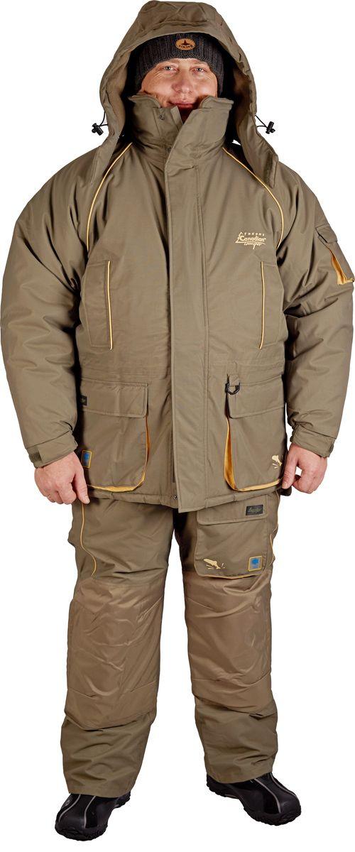 Костюм рыболовный мужской Canadian Camper Yukon: куртка, внутренняя куртка, комбинезон, цвет: серо-зеленый. Yukon_Stone. Размер XXL (54), рост 180-188Yukon_StoneКостюм рыболовный мужской Canadian Camper Yukon отлично подходит для зимней рыбалки. Внутреннюю куртку можно носить отдельно, трикотажные манжеты на рукавах защищают от холода. Отделочные канты и красивая внутренняя куртка сделали костюм более интересным. Внешняя куртка имеет отстегивающийся капюшон и высокий воротник, защищающий лицо от ветра и холода, множество внешних и внутренних карманов, системы регулирования ширины изделия. Комбинезон также имеет систему регулирования ширины изделия. Основной материал, из которого изготовлен костюм, представляет собой высокотехнологичную мембранную ткань DE-PRO-TEX с показателями водонепроницаемости 10000 мм в.с. и паропроницаемости 10000 г/м2/24. Все швы проклеены, что гарантирует 100% водонепроницаемость изделия.Современный утеплитель Noron и мягкая флисовая подкладка помогут долго удерживать тепло. При правильном подборе нижних слоев одежды костюм выдерживает сильные морозы. Экстремальный температурный режим достигает -40°С.