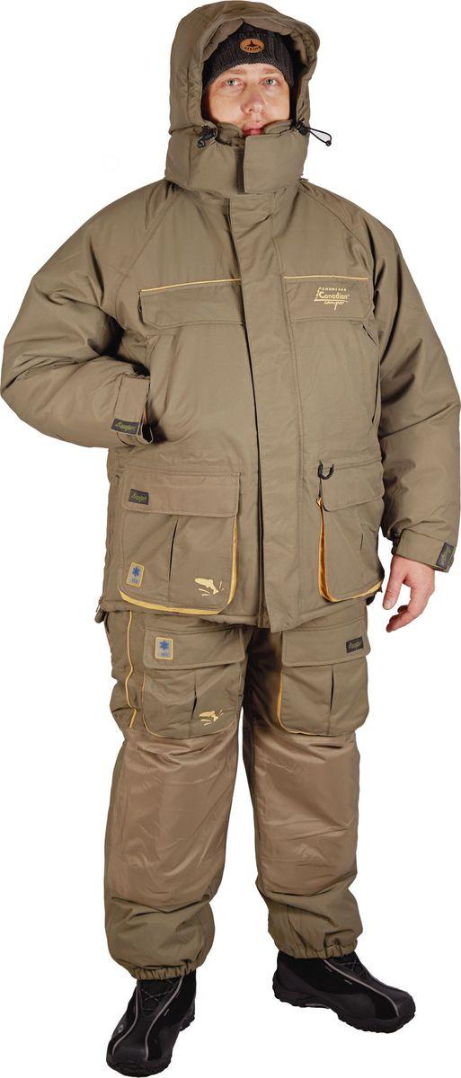 Костюм рыболовный мужской Canadian Camper Snow Lake: куртка, полукомбинезон, цвет: серо-зеленый. Snow Lake_Stone. Размер XL (52/54)Snow Lake_StoneКостюм Snow Lake предназначен для любителей подледной рыбалки при экстремальных погодных условиях. Дополнительное количество утеплителя NORON позволит эксплуатировать этот костюм до -30-35°С. Усиленная мембрана DE-PRO-TEX 10000/10000, помимо отличных паропроницаемых свойств, усилит способность костюма противостоять неблагоприятным погодным условиям. Куртка имеет отстегивающийся капюшон и высокий утепленный воротник, защищающий лицо от ветра и холода, множество защищенных от попадания влаги внешних и внутренних утепленных карманов, система вентиляции, систем регулирования ширины изделия. Высокий теплый комбинезон также имеет систему вентиляции и систему регулирования ширины изделия. Регулируемая ширина низа штанин, высокие бока защищают от холода. Специальные полиуретановые вкладки в области колен и сидения дополнительно защищают эти участки от воздействия внешних факторов.