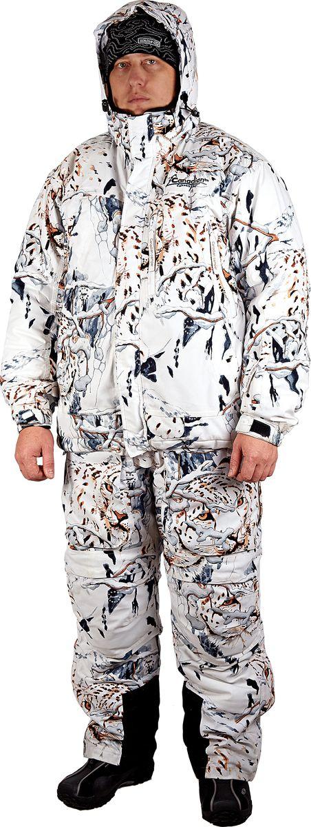 Костюм охотничий мужской Canadian Camper Tracker: куртка, полукомбинезон, цвет: белый камуфляж. Tracker_Snow-Leopard. Размер 3XL (54/56)Tracker_Snow-LeopardTracker – современная модель в охотничьей линейке костюмов Canadian Camper. Это эргономичный крой, артикулированные рукава и колени, специальные вставки в области колен и сиденья, ветрозащитная юбка и т.д. Чтобы максимально обеспечить комфорт во время физических нагрузок изделие имеет вентиляционные клапаны на груди. Также костюм имеет все особенности, присущие современной охотничьей одежде - не шуршащая ткань, великолепная камуфляжная расцветка – TAIGA (весна - осень) или SNOW LEOPARD (зима). Основной материал из которого изготовлен костюм, представляет собой высокотехнологичную мембранную ткань DE-PRO-TEX с показателями водонепроницаемости 10000 мм в.с. и паропроницаемости 10000 г/м2/24. Все швы проклеены, что гарантирует почти 100% водонепроницаемость изделия. Подкладка костюма выполнена из специальных тканей, способных поглощать запах, что позволит максимально близко подойти к объекту охоты.