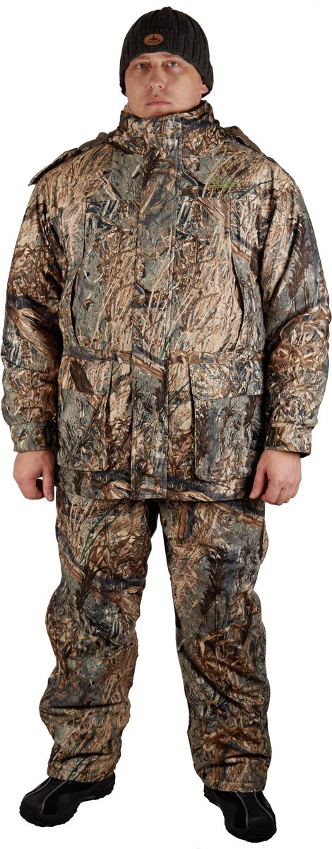 Костюм охотничий мужской Canadian Camper Kenora 2: куртка, внутренняя куртка, полукомбинезон, цвет: камуфляж. Kenora 2_Old-Grass. Размер M (48/50)Kenora 2_Old-GrassКостюм Kenora 2 разработан для любителей зимней охоты и рыбалки. Костюм состоит из верхней куртки, внутренней куртки-пилот с отстегивающимися рукавами и полукомбинезона. Внешняя куртка имеет отстегивающийся капюшон и высокий воротник, защищающий лицо от ветра и холода, множество внешних и внутренних карманов, систему вентиляции, системы регулирования ширины изделия. Внутренняя, отстёгивающаяся куртка-пилот, может носиться отдельно как самостоятельное изделие. Комбинезон-самосброс имеет систему регулирования ширины изделия, а также полноразмерные молнии до низа штанин. Основной материал из которого изготовлен костюм представляет собой высокотехнологичную мембранную ткань DE-PRO-TEX с показателями водонепроницаемости 10000 мм в.с. и паропроницаемости 10000 г/м2/24. Все швы проклеены, что гарантирует почти 100% водонепроницаемость изделия. Не шуршащий материал и специальная расцветка делают костюм практически незаметным в лесных чащах. Исходя из пожеланий охотников, особенно предпочитающих весенние охоты на гуся, костюм в расцветке OLD GRASS. Теперь этот костюм сливается с прошлогодней растительностью, что делает его хозяина практически невидимым даже для такой осторожной и дальнозоркой птицы, как дикий гусь.