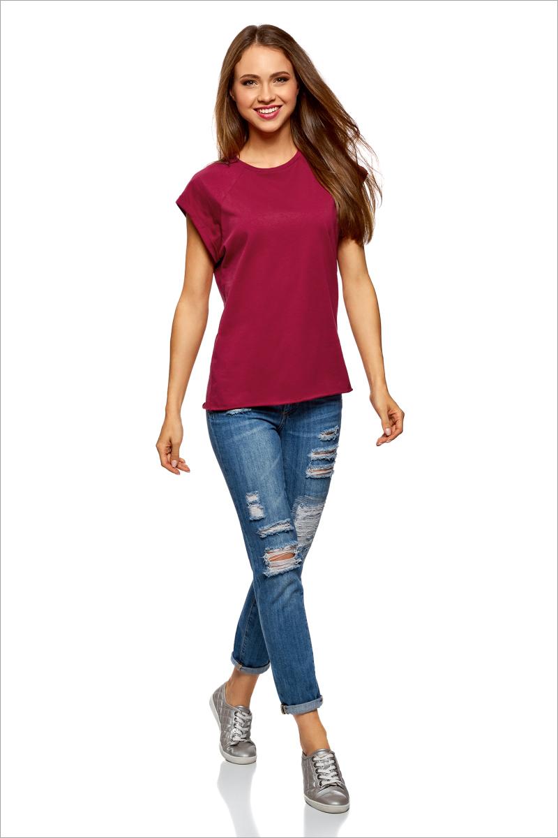 Футболка женская oodji Ultra, цвет: бордовый. 14707001B/46154/4901N. Размер XS (42)14707001B/46154/4901NБазовая футболка свободного кроя с круглым вырезом горловины и короткими рукавами-реглан выполнена из натурального хлопка.
