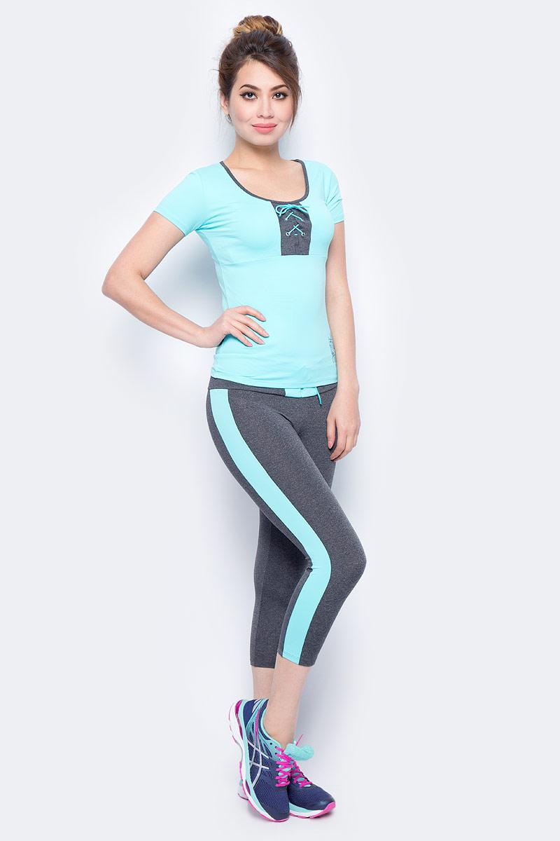 Футболка для фитнеса женская Grishko, цвет: голубой. AL- 3204. Размер 46AL- 3204Спортивная футболка выполнена с короткими рукавами. На груди футболка украшена контрастной вставкой с актуальной в этом сезоне шнуровкой. Модель выполнена из шелковистого, приятного на ощупь полиамида с эластаном в оптимальном для спортивных нагрузок сочетании. Футболка не сковывает движений и подчеркивает спортивное телосложение за счет визуально корректирующих фигуру линий. Материал отлично пропускает воздух, впитывает влагу и сохраняет форму.