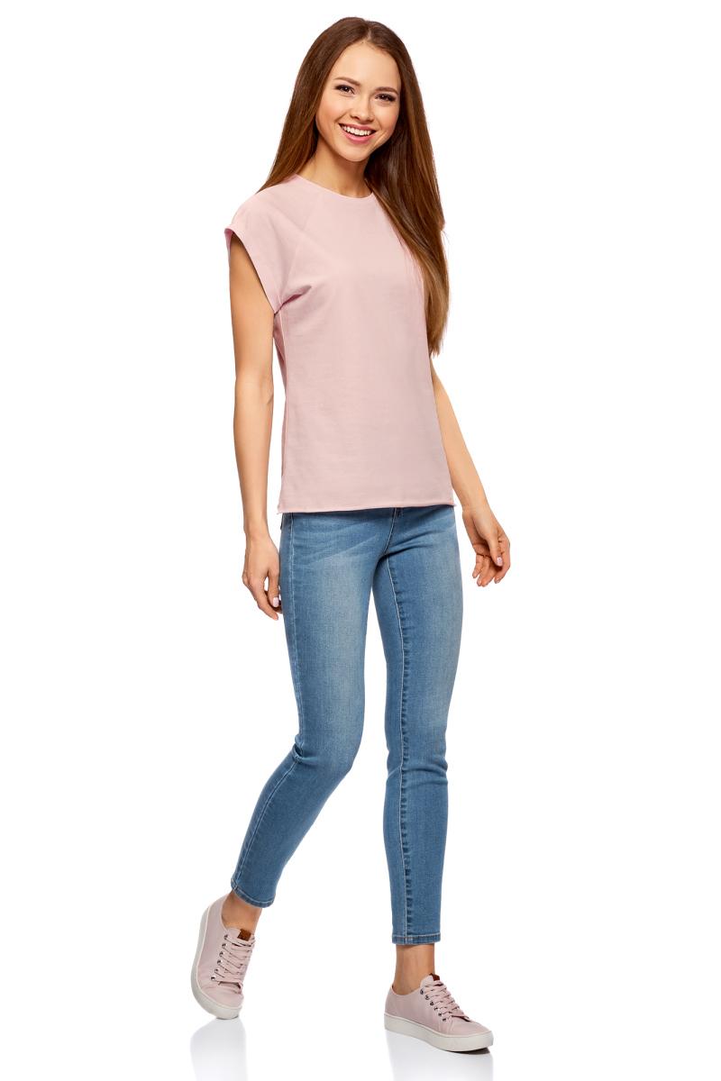 Футболка женская oodji Ultra, цвет: бледно-розовый. 14707001B/46154/4001N. Размер L (48)14707001B/46154/4001NБазовая футболка свободного кроя с круглым вырезом горловины и короткими рукавами-реглан выполнена из натурального хлопка.