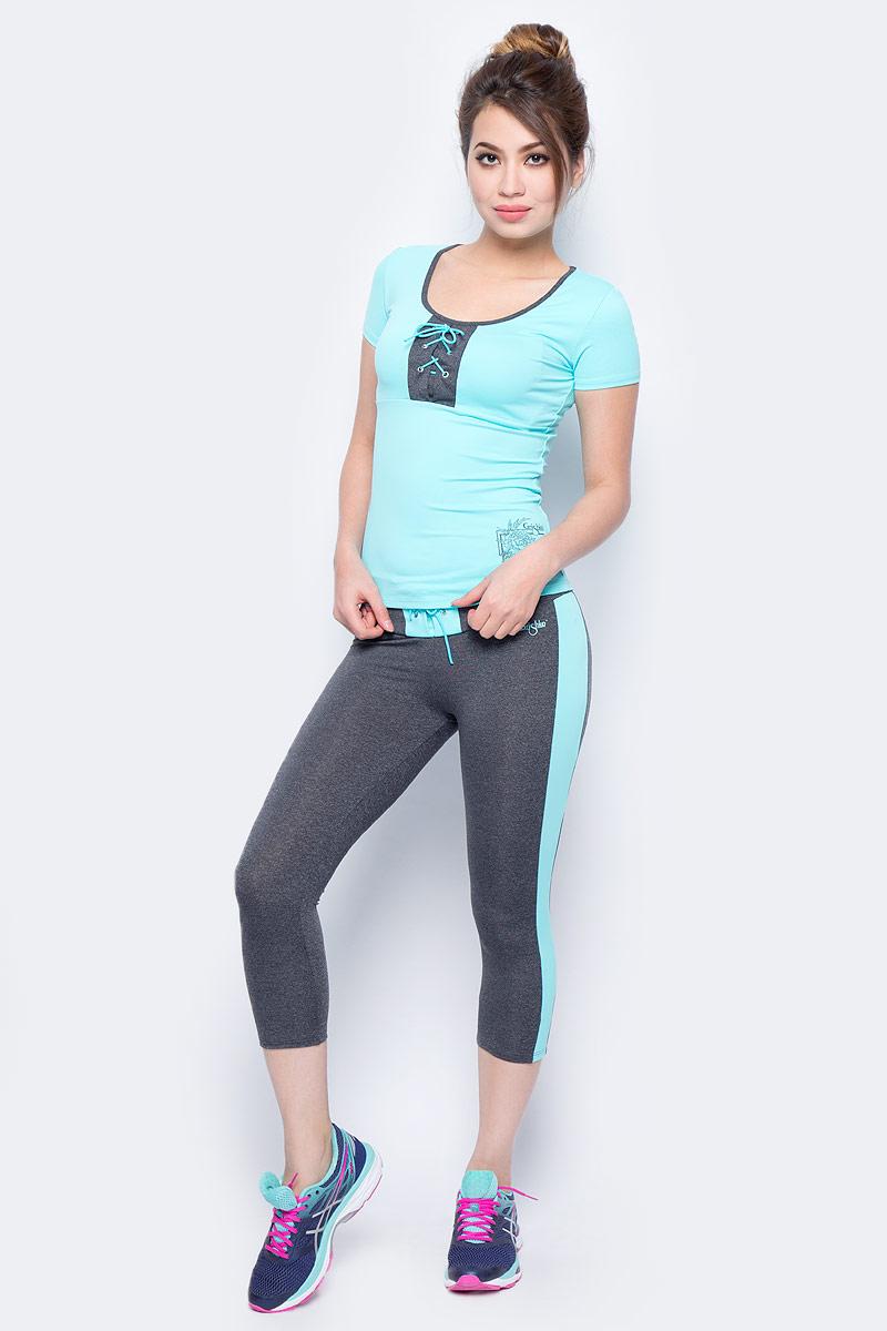 Капри для фитнеса женские Grishko, цвет: голубой. AL- 3203. Размер 46AL- 3203Спортивные капри с контрастными кантами Grishko. Широкий плотный пояс украшен контрастной вставкой с мегаактуальной в этом сезоне шнуровкой. Модель выполнена из шелковистого, приятного на ощупь полиамида с лайкрой в оптимальном для спортивных нагрузок сочетании. Капри не сковывают движений и подчеркивают спортивное телосложение за счет визуально корректирующих фигуру линий. Материал отлично пропускает воздух, впитывает влагу и сохраняет форму. Линия эргономичной одежды создана для всех видов активных физических нагрузок и выполнена в ультрамодных цветовых сочетаниях.